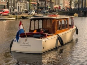 Sarah small electric saloon boat Amsterdam
